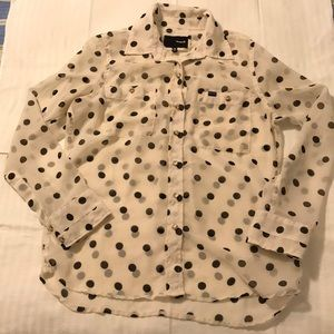 Black and white Hurley Long Sleeve sheer blouse